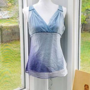Blue Ombre Overlay V-Neck Sleeveless Tie Back Top
